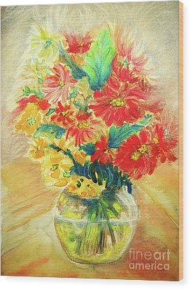 Wood Print featuring the painting Vase by Jasna Dragun