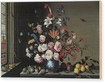 Vase Of Flowers By A Window Wood Print by Balthasar Van Der Ast