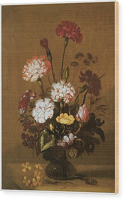 Vase Of Flowers Wood Print by Hans Bollongier