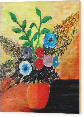 Vase Of Flowers Wood Print by Mauro Beniamino Muggianu