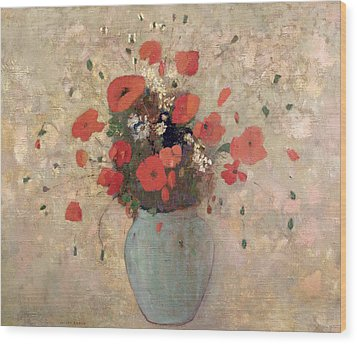 Vase Of Poppies Wood Print by Odilon Redon