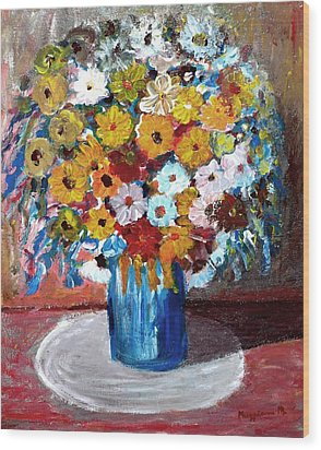 Vase Of Spring Wood Print by Mauro Beniamino Muggianu