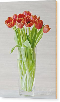 Vase Of Tulips Wood Print by Dee Cresswell