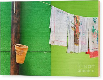 Wood Print featuring the photograph Vase Towels And Green Wall by Silvia Ganora