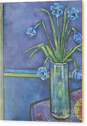 Vase With Blue Flowers And Cherries Wood Print by Chaline Ouellet