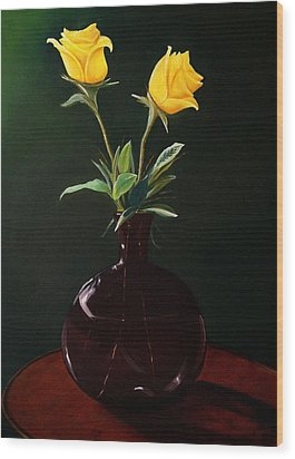 Vase With Yellow Roses Wood Print