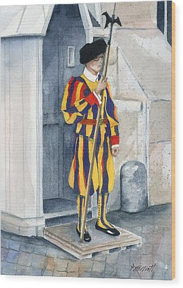Vatican Guard Wood Print by Marsha Elliott