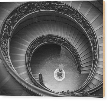 Vatican Stairs Wood Print by Adam Romanowicz