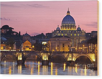 Vatican Twilight Wood Print by Brian Jannsen