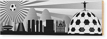vector Rio skyline with ball Wood Print by Michal Boubin