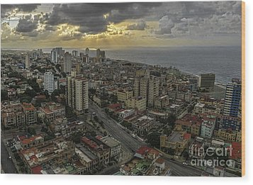 Vedado Havana City Sunset Wood Print