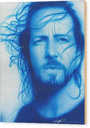 Eddie Vedder - ' Vedder ' Wood Print by Christian Chapman Art