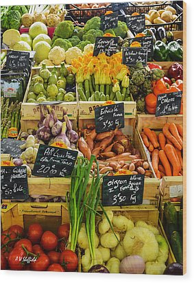 Veg At Marche Provencal Wood Print by Allen Sheffield
