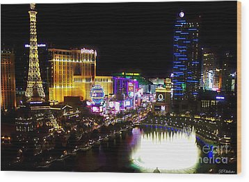 Vegas At Night Wood Print by Barbara Chichester