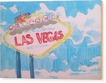 Vegas Wood Print by Marisela Mungia