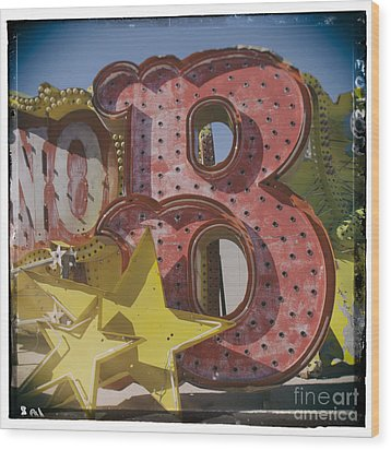 Vegas Red Letter B Wood Print