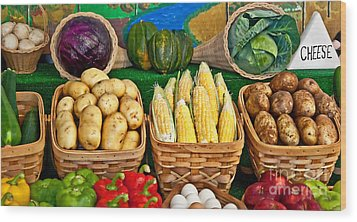 Vegetable Bounty Wood Print by Valerie Garner