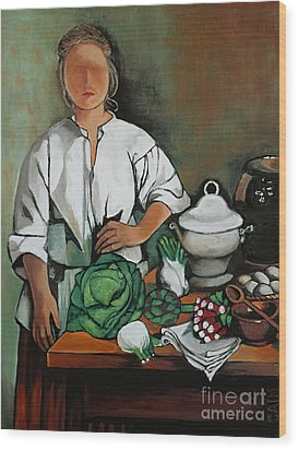 Vegetable Lady Wall Art Wood Print
