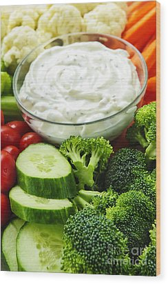 Vegetables And Dip Wood Print