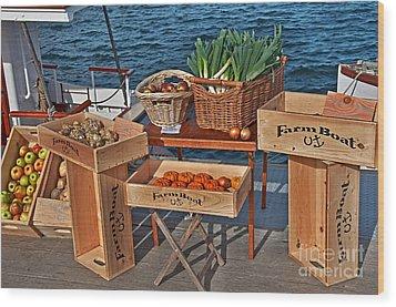 Vegetables At Floating Farmer's Market Wood Print by Valerie Garner