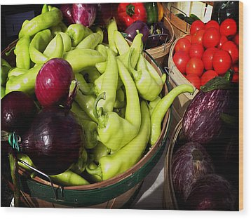 Vegetables Organic Market Wood Print by Julie Palencia