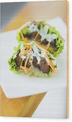 Vegetarian Falafel In Pita Bread Sandwich Wood Print