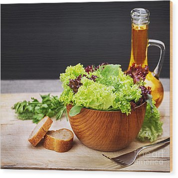 Vegetarian Salad And Olive Oil Wood Print by Anna Om