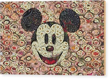 Veggie Mickey Mouse Wood Print by Paulette B Wright