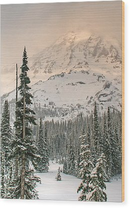 Veiled Mountain Wood Print by Jeff Cook
