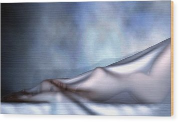 Wood Print featuring the digital art Veiled Nude by Kaylee Mason