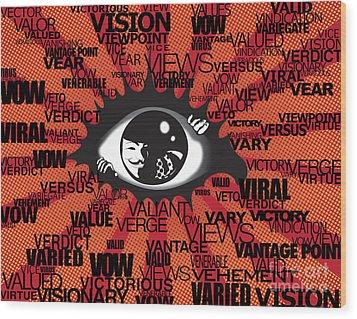 Vendetta Typography Wood Print by Sassan Filsoof