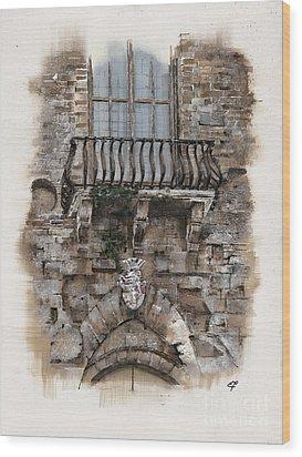 Wood Print featuring the painting Venetian Balcony 02 Elena Yakubovich by Elena Yakubovich