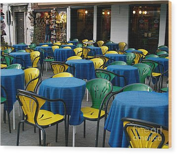 Wood Print featuring the photograph Venetian Cafe by Robin Maria Pedrero