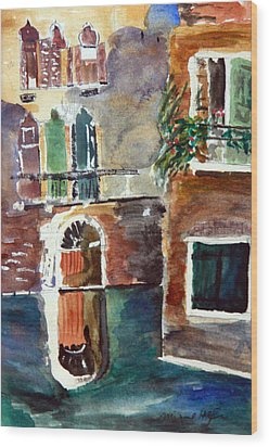 Venetian Canal Wood Print by Michael Helfen