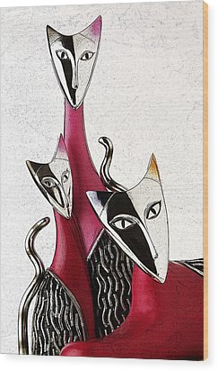 Wood Print featuring the drawing Venetian Cats by Selke Boris