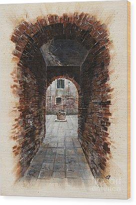 Wood Print featuring the painting Venetian Courtyard 01 Elena Yakubovich by Elena Yakubovich