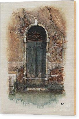 Wood Print featuring the painting Venetian Door 01 Elena Yakubovich by Elena Yakubovich