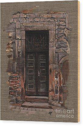 Wood Print featuring the painting Venetian Door 02 Elena Yakubovich by Elena Yakubovich