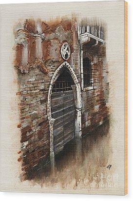 Wood Print featuring the painting Venetian Door 03 Elena Yakubovich by Elena Yakubovich