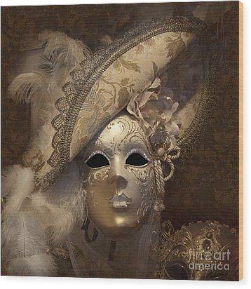 Venetian Face Mask F Wood Print