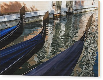 Wood Print featuring the photograph Venetian Gondolas by Georgia Mizuleva