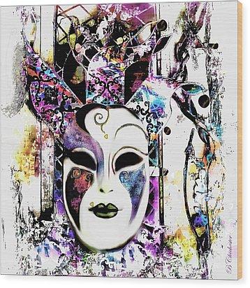 Venetian Mask Wood Print by Barbara Chichester