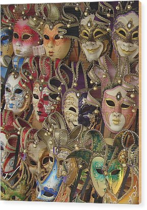 Venetian Masks Wood Print by Ramona Johnston