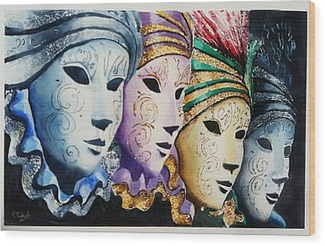 Venetian Masks Wood Print by Steven Ponsford