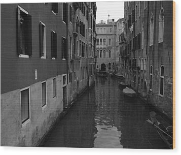 Wood Print featuring the photograph Venetian Monochrome Bw by Walter Fahmy