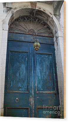 Venetian Old Blue Door Wood Print