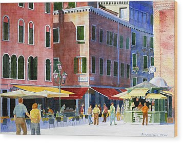 Wood Print featuring the painting Venetian Piazza by Roger Rockefeller