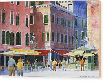 Venetian Piazza Wood Print by Roger Rockefeller