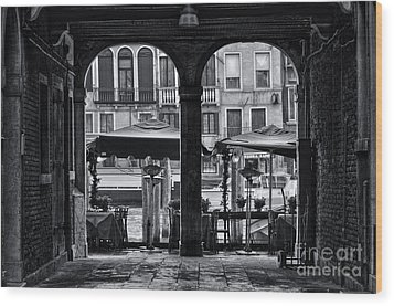 Venetian Street Black And White Wood Print by Design Remix