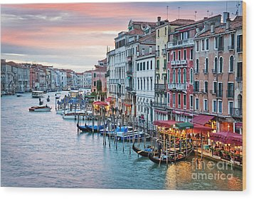 Venetian Sunset Wood Print by Delphimages Photo Creations